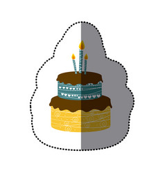 sticker colorful picture birthday cake two floors vector image