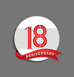 18 anniversary with white circle and red ribbon vector