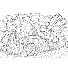 Adult coloring bookpage a cute bear image for vector