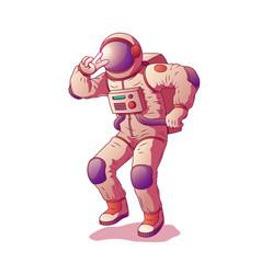 Astronaut or spacemen character wearing space suit vector