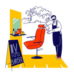 Barber shop shaves and cuts service bearded vector