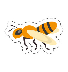 bee insect flower pollen cut line vector image