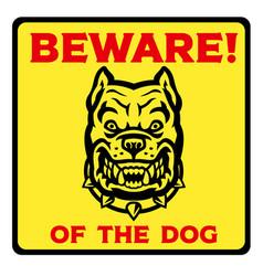 Beware dog yellow sign vector