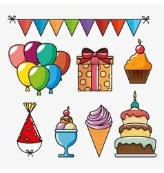 Birthday celebration set icons vector