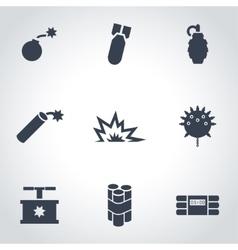 black bomb icon set vector image
