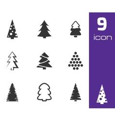 black christmas tree icons set vector image