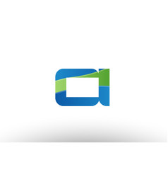 Blue green ci c i alphabet letter logo vector