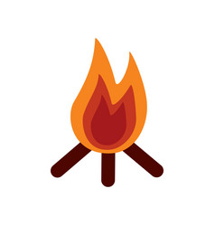 bonfire flame hot wooden warm icon vector image