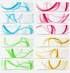 Bright swoosh line structure abstract header set vector