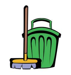 broom and bucket icon cartoon vector image