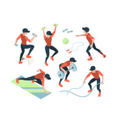 cardio training fitness dynamic exercises woman vector image