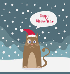 cartoon cat wishing happy new year winter vector image