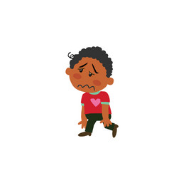 Cartoon character black boy dizzy vector