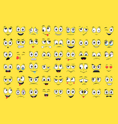 Cartoon faces set angry laughing smiling cryin vector