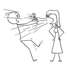 Cartoon woman on date screaming or yelling vector