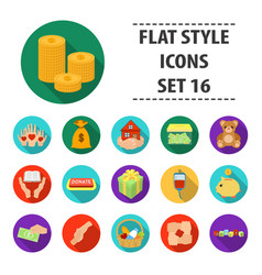 Charity and donation set icons in flat style big vector