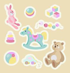 children toys cartoon pastel sticker set vector image