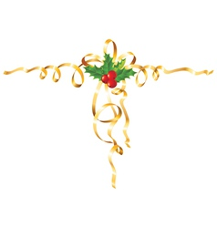 Christmas gold ribbon vector