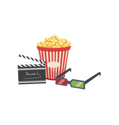 cinema set popcorn clapper board and 3d glasses vector image