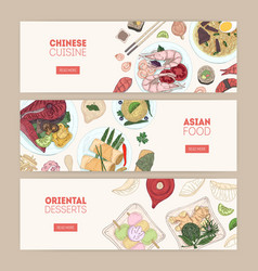 Collection of horizontal web banners with asian vector