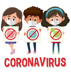 coronavirus logo with three teenagers holding vector image
