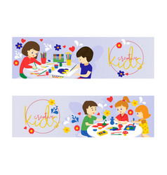 creative kids set of banners vector image