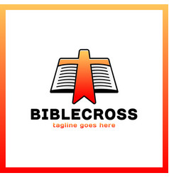 cross bookmark icon bible book logotype simple vector image