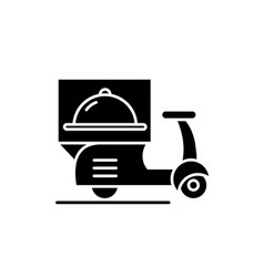 Delivery from restaurants black icon sign vector