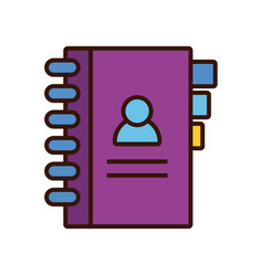 Directory book line and fill style icon vector