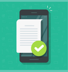 document file page with checkmark on mobile phone vector image