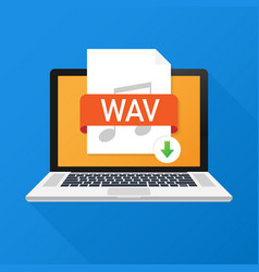 Download wav button on laptop screen downloading vector
