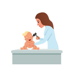 Female pediatrician in white coat checking infant vector