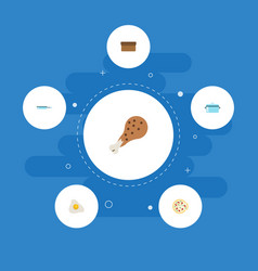 Flat icons pepperoni loaf casserole and other vector
