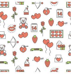 flat line art love seamless pattern vector image