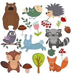 Forest animals set of icons vector