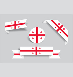 Georgian flag stickers and labels vector