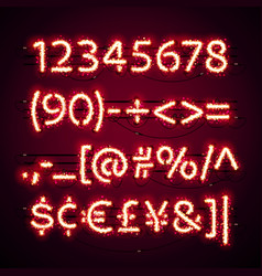 glowing neon red numbers with glitter on dark vector image