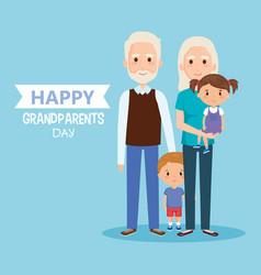 Grandparents day with grandchildren characters vector