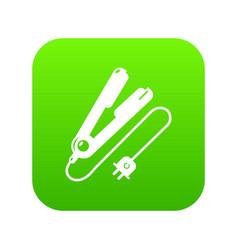hair straightener icon green vector image