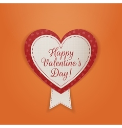 Happy Valentines Day Textile Badge with Ribbon vector image