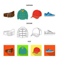 Isolated object man and clothing symbol set of vector
