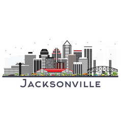 jacksonville florida city skyline with gray vector image