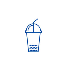 juice cup line icon concept juice cup flat vector image