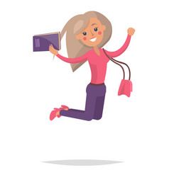 jumping blond girl student with book vector image