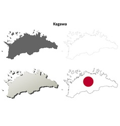 Kagawa blank outline map set vector