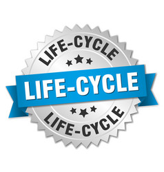 life-cycle round isolated silver badge vector image