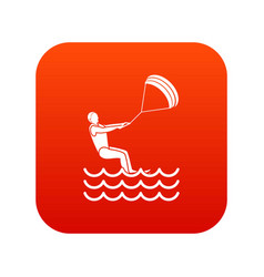 Man takes part at kitesurfing icon digital red vector