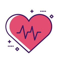 Medical heart cardiology pulse line and fill style vector