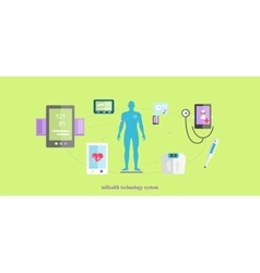 Mhealth Technologies System Icon Flat Isolated vector