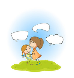 Mother and daughter with speech bubbles vector
